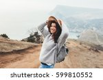 Girl Wearing Hat And Sweater...