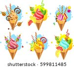 set of ice cream cones of... | Shutterstock .eps vector #599811485
