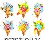 set of ice cream cones of...   Shutterstock .eps vector #599811485