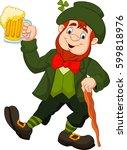 cartoon happy leprechaun... | Shutterstock .eps vector #599818976