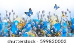 multi colored tulips with... | Shutterstock . vector #599820002
