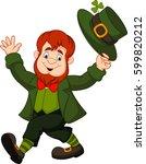 cartoon funny leprechaun... | Shutterstock . vector #599820212