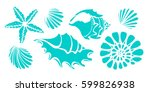 set of silhouettes of sea... | Shutterstock .eps vector #599826938