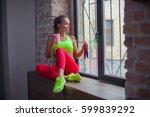 beautiful young girl is... | Shutterstock . vector #599839292