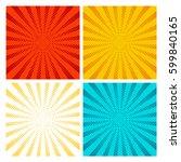 pop art rays vector set. yellow ... | Shutterstock .eps vector #599840165