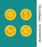 icons of gold coins with images ... | Shutterstock .eps vector #599840762