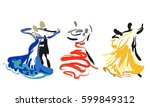 three dancing couples. sketch.... | Shutterstock .eps vector #599849312