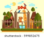 colourful view of the zoo... | Shutterstock .eps vector #599852675