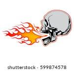 fire breathing skull vector...