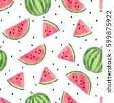 watercolor watermelons pattern. ... | Shutterstock .eps vector #599875922