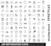 100 motherhood icons set in... | Shutterstock .eps vector #599879165
