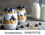 blueberry yogurt parfait with... | Shutterstock . vector #599879735