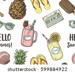 cute seamless pattern with... | Shutterstock .eps vector #599884922