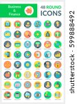 set of modern flat round icons... | Shutterstock .eps vector #599888492