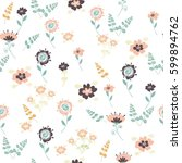 vector floral pattern in doodle ... | Shutterstock .eps vector #599894762