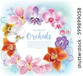 greeting card with orchids... | Shutterstock .eps vector #599899058