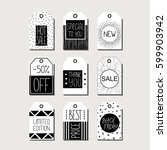 vector set of black and white... | Shutterstock .eps vector #599903942