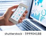 online banking app on a mobile... | Shutterstock . vector #599904188
