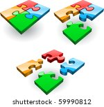 set of four puzzles collected... | Shutterstock .eps vector #59990812