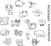 animals vector. many animals.