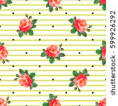 Stock vector seamless pattern with beautiful roses buds and leaves on a background of stripes and circles 599926292