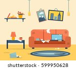 dirty and clean room. disorder... | Shutterstock .eps vector #599950628