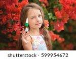 allergy. little girl  near... | Shutterstock . vector #599954672