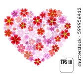 heart of flowers. sakura heart... | Shutterstock .eps vector #599956412