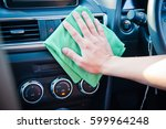 hand cleaning the car interior...   Shutterstock . vector #599964248