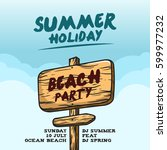 summer holiday poster template... | Shutterstock .eps vector #599977232