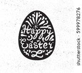 vintage happy easter lettering... | Shutterstock .eps vector #599978276