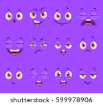 flat funny cartoon faces with... | Shutterstock .eps vector #599978906