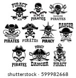 pirates skulls and jolly roger... | Shutterstock .eps vector #599982668