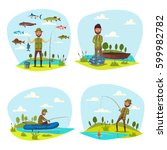 fisherman on fishing with fish... | Shutterstock .eps vector #599982782