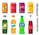 set of soft drinks in plastic... | Shutterstock .eps vector #599989388
