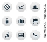 set of 9 simple travel icons.... | Shutterstock .eps vector #600006566