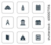 set of 9 simple architecture... | Shutterstock . vector #600007556