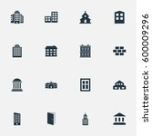 set of 16 simple structure... | Shutterstock . vector #600009296