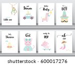 set of baby shower invitations... | Shutterstock .eps vector #600017276