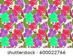 seamless tropical flower ... | Shutterstock . vector #600022766