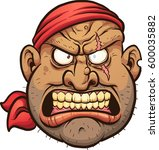angry cartoon pirate face.... | Shutterstock .eps vector #600035882