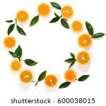 round frame made of slices of ... | Shutterstock . vector #600038015