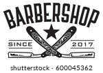 barbershop logo vector design... | Shutterstock .eps vector #600045362