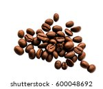 coffee beans isolated on white... | Shutterstock . vector #600048692