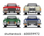 vintage seventies sedans  front ... | Shutterstock .eps vector #600059972