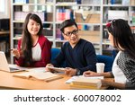vietnamese students discussing... | Shutterstock . vector #600078002