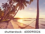 serenity tropical beach ... | Shutterstock . vector #600090026