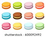 set of sweet baking colorful... | Shutterstock .eps vector #600092492