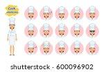 big set of female cook... | Shutterstock .eps vector #600096902