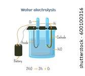 water electrolysis diagram.... | Shutterstock .eps vector #600100316